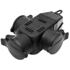 Rubber 3-way-coupler IP44 black
