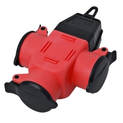 Rubber 3-way-coupler IP44 red/black