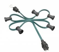 Illumination cord-sets E27, green, 4,7m, 9lampholders