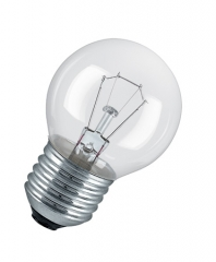 lamp E27, 15W drop shaped, warm white clear, shockproof