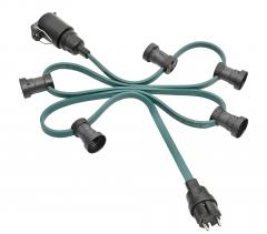 Illumination chain extension E27, green, 60 m, 90 lamp holders,