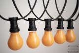 Illumination cord-sets E27, black, 10 m, 15 lamp holders, incl. lightbulb orange