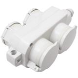 thermoplastic socket block 355, 4-way, gray IP54