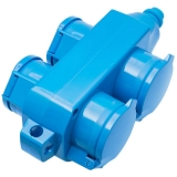 thermoplastic socket block 355, 4-way, blue IP54