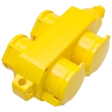 thermoplastic socket block 355, 4-way, yellow IP54
