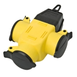 Rubber 3-way-coupler IP44 yellow/black
