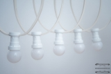 Illumination cord-sets E27, white, 10 m, 15 lamp holders, incl. LED-lamp drop shaped warmwhite