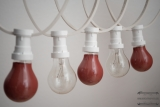 Illumination cord-sets E27, white, 10 m, 15 lamp holders, incl. lightbulb red & white