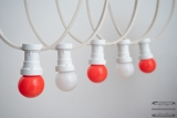 Illumination cord-sets E27, white, 10 m, 15 lamp holders, incl. LED-lamp drop shaped red & white