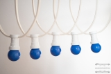 Illumination cord-sets E27, white, 10 m, 15 lampholders, incl. LED-lamp drop shaped blue