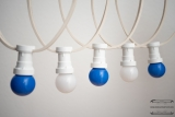 Illumination cord-sets E27, white, 10 m, 15 lamp holders, incl. LED-lamp drop shaped blue & white