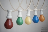 PARTY cord-sets E27, white, 10 m, 15 lamp holders, incl. lightbulb red, green, yellow, blue & orange