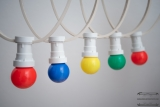 PARTY cord-sets E27, white, 10 m, 15 lamp holders, incl. LED-lamp drop shaped red, blue, yellow & green