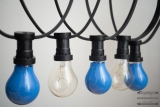 Illumination cord-sets E27, black, 10 m, 15 lamp holders, incl. lightbulbs blue & clear white