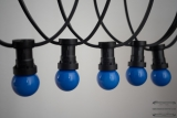 Illumination cord-sets E27, black, 10 m, 15 lampholders, incl. LED-lamp drop shaped blue