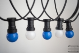 Illumination cord-sets E27, black, 10 m, 15 lamp holders, incl. LED-lamp drop shaped blue & white