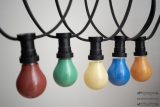 Illumination cord-sets E27, black, 10 m, 15 lamp holders, incl. lightbulbs red, green, yellow, blue & orange