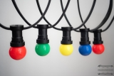 PARTY cord-sets E27, black, 10 m, 15 lamp holders, incl. LED-lamp drop shaped red, green, yellow & blue