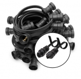 Illumination RST-extension E27, black, 10m, 15lampholders with Wieland RST-Classic-connectors
