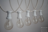 Illumination cord-sets E27, white, 10 m, 15 lamp holders, incl. lightbulb clear white