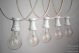 Illumination cord-sets E27, white, 10 m, 15 lamp holders, incl. LED Filament lamps clear white