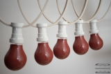 Illumination cord-sets E27, white, 10 m, 15 lamp holders, incl. lightbulb red