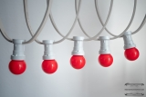 Illumination cord-sets E27, white, 10 m, 15 lamp holders, incl. LED-lamps drop shaped red